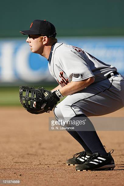 Chris Shelton of the Detroit Tigers in his defensive postion during action on opening day against the Kansas City Royals at Kauffman Stadium in...