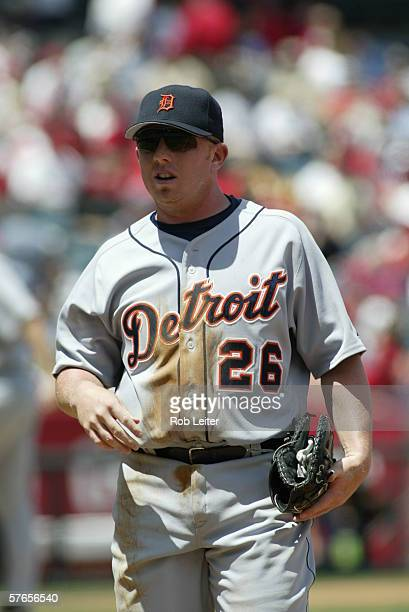 Chris Shelton of the Detroit Tigers is pictured during the game against the Los Angeles Angels of Anaheim at Angel Stadium in Anaheim California on...