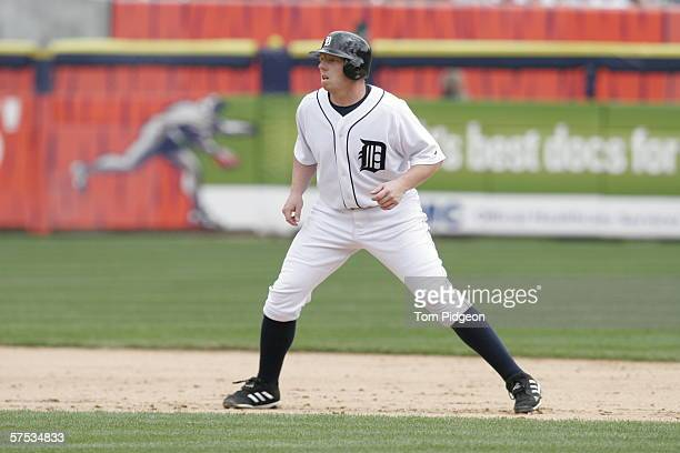 Chris Shelton of the Detroit Tigers leads off the base against the Chicago White Sox at Comerica Park on April 13 2006 in Detroit Michigan The White...