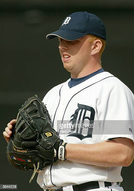 Chris Shelton of the Detroit Tigers looks on during the game against the Toronto Blue Jays at Joker Marchant Stadium on March 9 2004 in Lakeland...