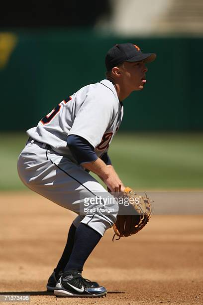 Chris Shelton of the Detroit Tigers plays defense at third base during the game against the Oakland Athletics at the McAfee Coliseum in Oakland...