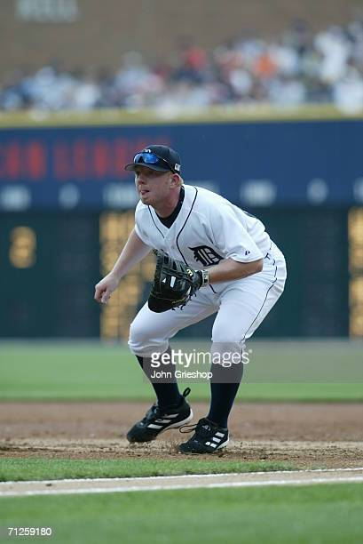 Chris Shelton of the Detroit Tigers plays defense during the game against the New York Yankees at Comerica Park in Detroit Michigan on May 29 2006...