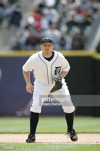 Chris Shelton of the Detroit Tigers plays first base against the Minnesota Twins on May 18 2006 at Comerica Park in Detroit Michigan The Tigers won 53