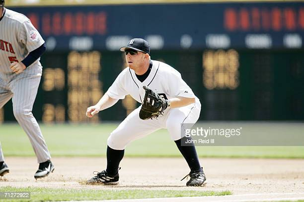 Chris Shelton of the Detroit Tigers plays first base during the game against the Minnesota Twins at Comerica Park in Detroit Michigan on May 18 2006...