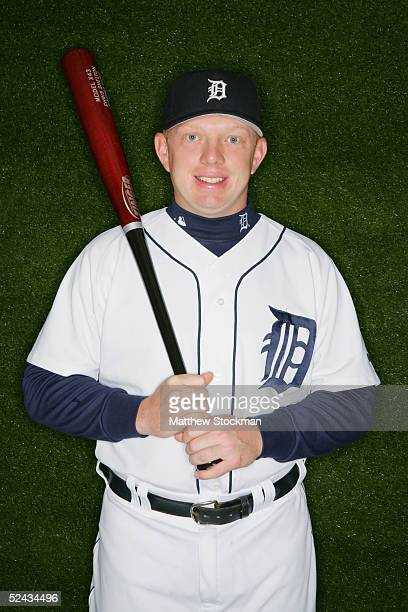 Chris Shelton of the Detroit Tigers poses for a portrait during Tigers Photo Day at Joker Marchant Stadium on February 27 2005 in Lakeland Florida