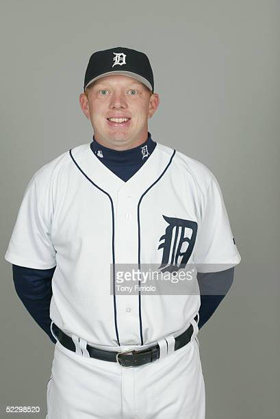Chris Shelton of the Detroit Tigers poses for a portrait during photo day at Marchant Stadium on February 27 2005 in Lakeland Florida