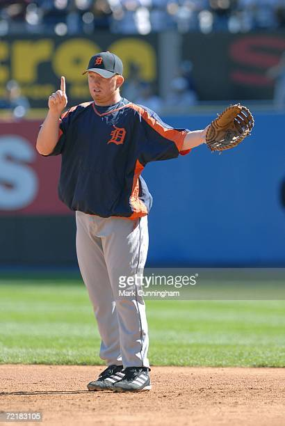 Chris Shelton of the Detroit Tigers preGame during the American League Division Series game against the New York Yankees at Yankee Stadium in the...