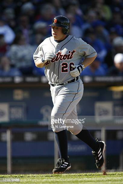 Chris Shelton of the Detroit Tigers rounds third base after hitting his 2nd solo home run of the game during action on opening day against the Kansas...