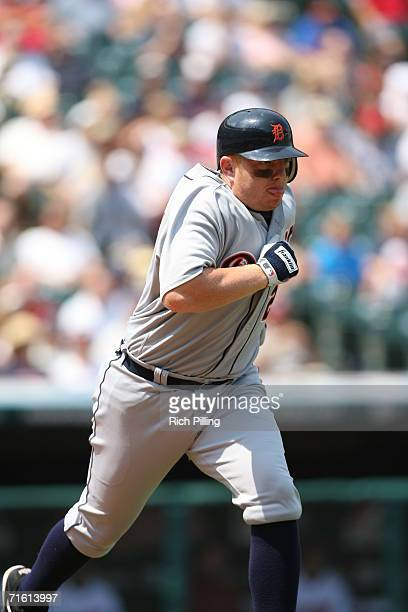 Chris Shelton of the Detroit Tigers running during the game against the Cleveland Indians at Jacobs Field in Cleveland Ohio on July 26 2006 The...