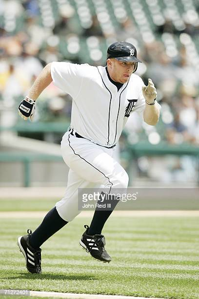Chris Shelton of the Detroit Tigers runs during the game against the Minnesota Twins at Comerica Park in Detroit Michigan on May 18 2006 The Tigers...