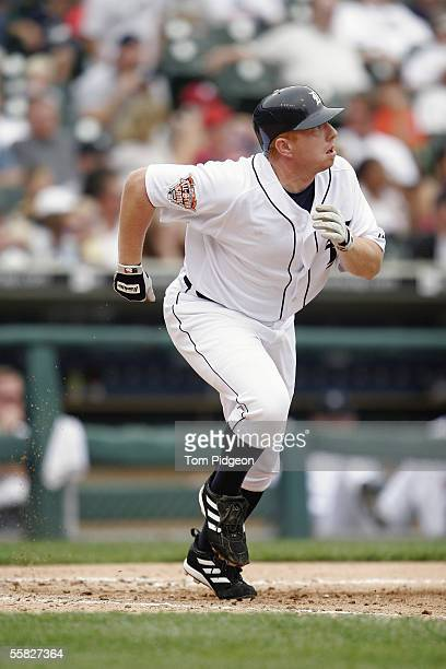 Chris Shelton of the Detroit Tigers runs to first base during the game against the Seattle Mariners at Comerica Park on September 25 2005 in Detroit...