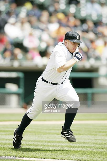 Chris Shelton of the Detroit Tigers runs to first base during the game against the Minnesota Twins at Comerica Park in Detroit Michigan on May 18...