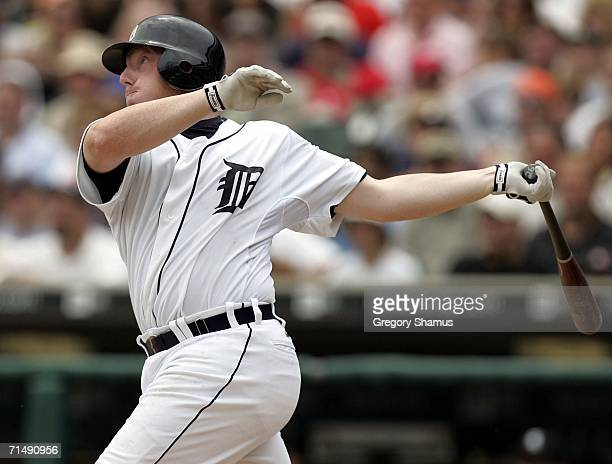 Chris Shelton of the Detroit Tigers watches a seventh inning double that brings in the winning run against the Chicago White Sox on July 20 2006 at...