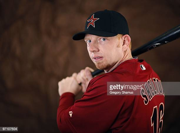 Chris Shelton of the Houston Astros poses during photo day at Osceola County Stadium on February 25 2010 in Kissimmee Florida