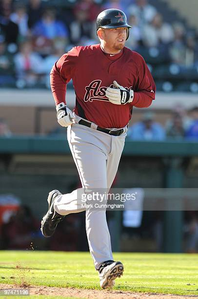 Chris Shelton of the Houston Astros runs the bases against the Detroit Tigers during a spring training game at Joker Marchant Stadium on March 5 2010...
