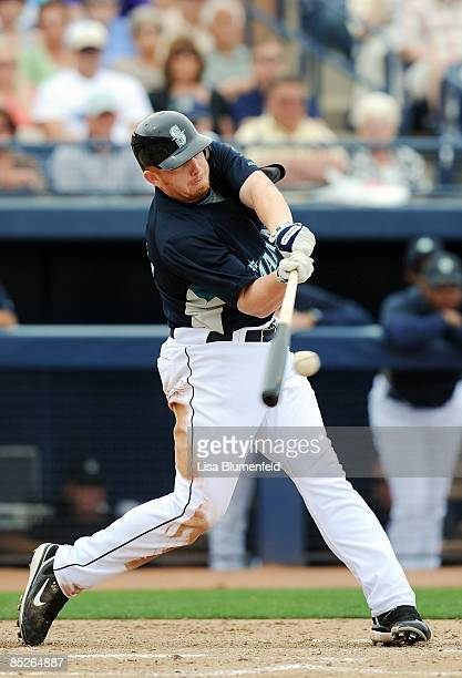 Chris Shelton of the Seattle Mariners at bat during a Spring Training against the Los Angeles Angels of Anaheim game at Peoria Stadium on March 5...