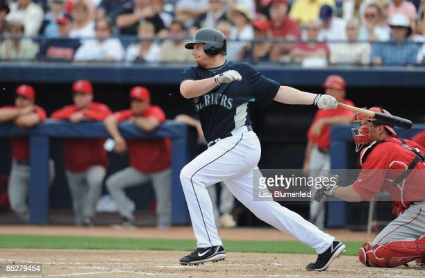 Chris Shelton of the Seattle Mariners bats during a Spring Training game against the Los Angeles Angels of Anaheim at Peoria Stadium on March 5 2009...