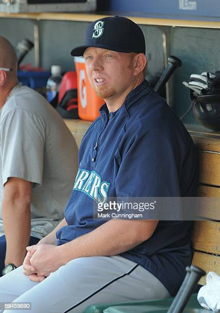 Chris Shelton of the Seattle Mariners looks on against the Detroit Tigers during the game at Comerica Park on July 23 2009 in Detroit Michigan The...