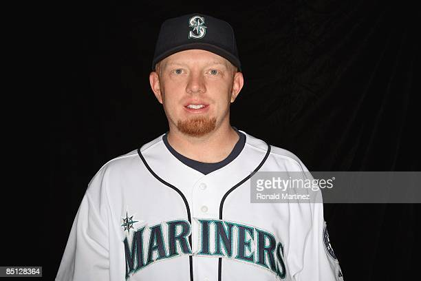 Chris Shelton of the Seattle Mariners poses during photo day at the Mariners spring training complex on February 20 2009 in Peoria Arizona