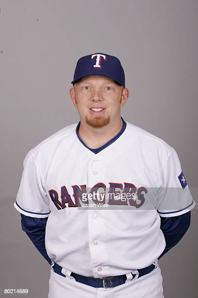 Chris Shelton of the Texas Rangers poses for a portrait during photo day at Surprise Stadium on February 24 2008 in Surprise Arizona