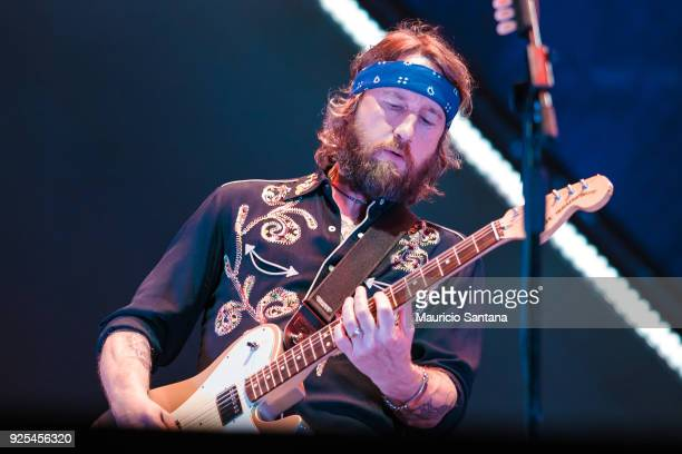 Chris Shiflett guitarist member of the band Foo Fighters performs live on stage at Allianz Parque on February 27 2018 in Sao Paulo Brazil