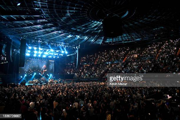 Chris Shiflett, Rami Jaffee, Dave Grohl, Taylor Hawkins, Nate Mendel, and Pat Smear of Foo Fighters perform onstage at The Forum on August 26, 2021...
