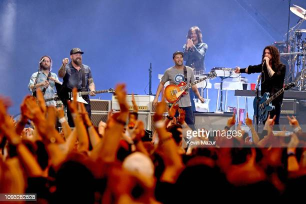 Chris Shiflett Zac Brown Rami Jaffee Tom Morello and Dave Grohl perform onstage at DIRECTV Super Saturday Night 2019 at Atlantic Station on February...