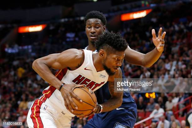 Chris Silva of the Miami Heat drives to the basket against Jaren Jackson Jr #13 of the Memphis Grizzlies during the second half at American Airlines...