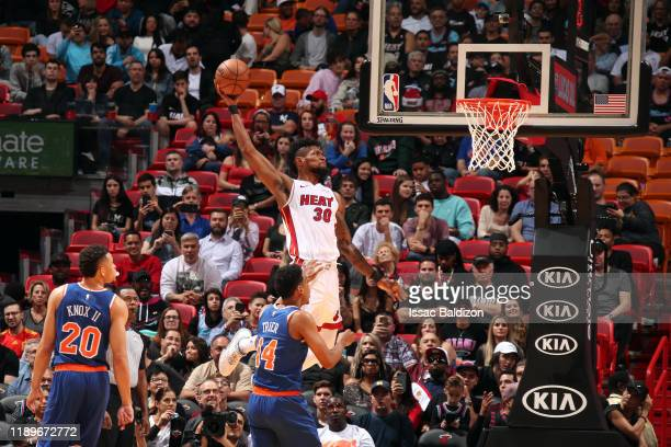 Chris Silva of the Miami Heat drives to the basket during the game against the New York Knicks on December 20 2019 at American Airlines Arena in...