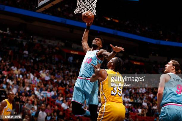 Chris Silva of the Miami Heat dunks the ball against the Los Angeles Lakers on December 13 2019 at American Airlines Arena in Miami Florida NOTE TO...