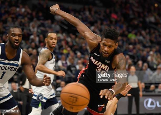 Chris Silva of the Miami Heat goes after a loose ball against the Minnesota Timberwolves during the second quarter of the home opener at Target...