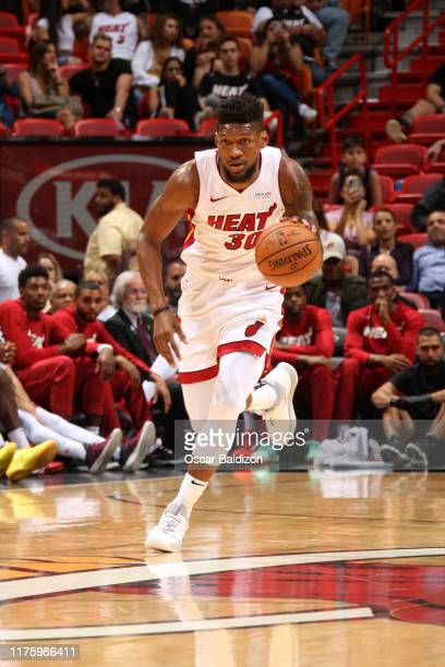 Chris Silva of the Miami Heat handles the ball against the Atlanta Hawks during a preseason game on October 14 2019 at American Airlines Arena in...
