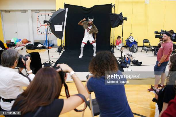 Chris Silva of the Miami Heat poses for a portrait for photographers during media day at American Airlines Arena on September 30 2019 in Miami...