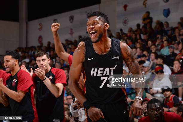 Chris Silva of the Miami Heat reacts to a play during the game against the Orlando Magic on July 9 2019 at the Cox Pavilion in Las Vegas Nevada NOTE...