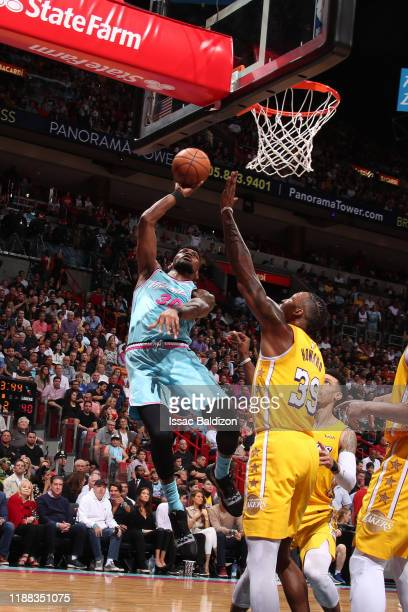 Chris Silva of the Miami Heat shoots the ball against the Los Angeles Lakers on December 13 2019 at American Airlines Arena in Miami Florida NOTE TO...