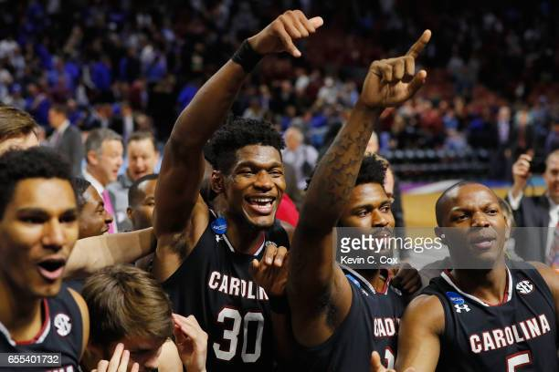Chris Silva of the South Carolina Gamecocks celebrates defeating the Duke Blue Devils 8881 in the second round of the 2017 NCAA Men's Basketball...