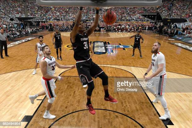 Chris Silva of the South Carolina Gamecocks dunks the ball against the Gonzaga Bulldogs during the 2017 NCAA Photos via Getty Images Men's Final Four...