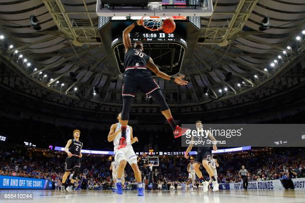 Chris Silva of the South Carolina Gamecocks dunks the ball in the second half against the Duke Blue Devils during the second round of the 2017 NCAA...