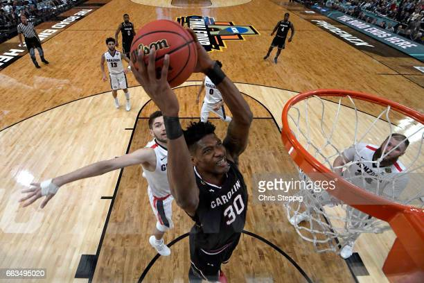 Chris Silva of the South Carolina Gamecocks goes in for a dunk against the Gonzaga Bulldogs during the 2017 NCAA Photos via Getty Images Men's Final...