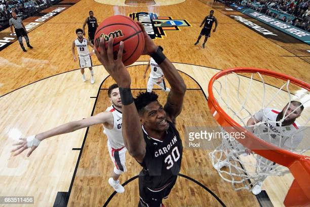 Chris Silva of the South Carolina Gamecocks goes up for a dunk in the first half against the Gonzaga Bulldogs during the 2017 NCAA Men's Final Four...