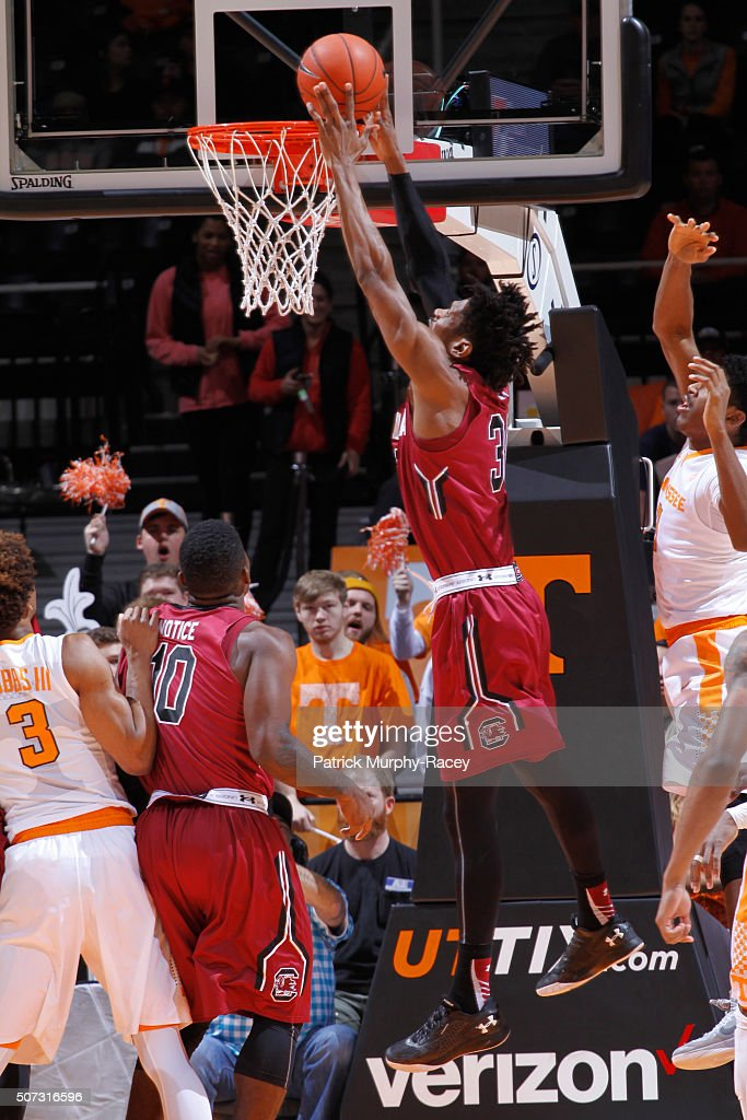 Chris Silva #30 of the South Carolina Gamecocks shoots against the Tennessee Volunteers shoots against in a game at Thompson-Boling Arena on January 23, 2016 in Knoxville, Tennessee.