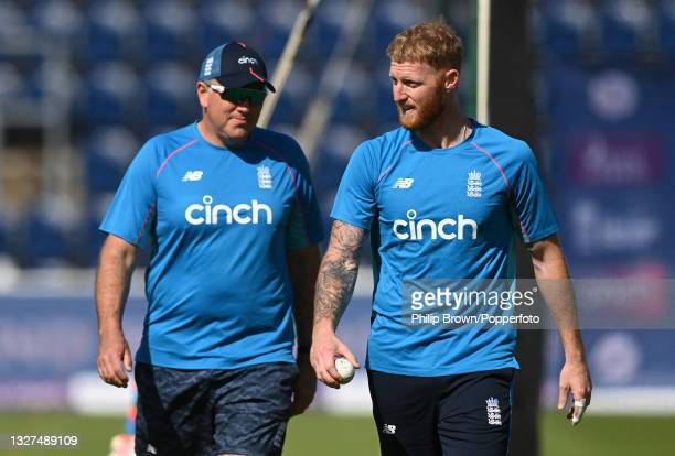 Chris Silverwood and Ben Stokes of England talk during a training session before the first One Day International against Pakistan at Sophia Gardens...