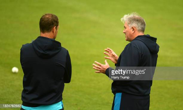 Chris Silverwood, Head Coach of England looks on during an England Nets Session at Sophia Gardens on June 21, 2021 in Cardiff, Wales.
