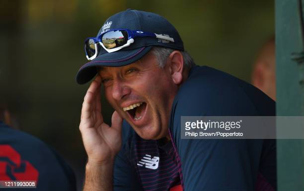 Chris Silverwood of England laughs during the match between a Sri Lanka Board President's XI and England at P Sara Oval on March 12, 2020 in Colombo,...