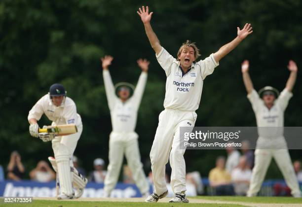 Chris Silverwood of Middlesex appeals for and gets the wicket of Andrew Gale of Yorkshire LBW for 0 in the first innings of the County Championship...