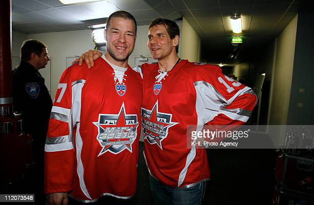 Chris Simon of the Yashin team and Alexei Yashin# 19 of the Yashin team are seen before the KHL All Star Game on February 05 2011 at the Ice Palace...
