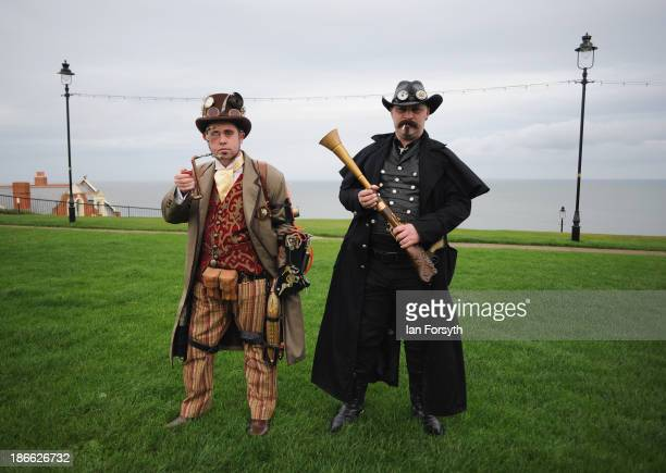 Chris Simpson and Wayne Ellis both from Chesterfield visit the Goth weekend dressed as steampunks on November 2 2013 in Whitby England The Whitby...
