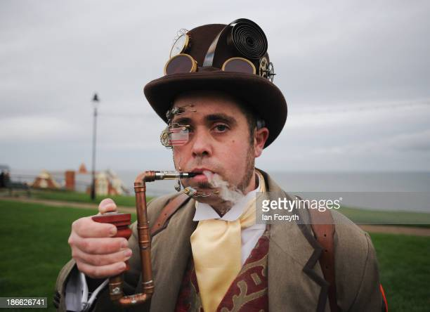 Chris Simpson from Chesterfield dresses in the classic steampunk style as he visits the Goth weekend on November 2, 2013 in Whitby, England. The...