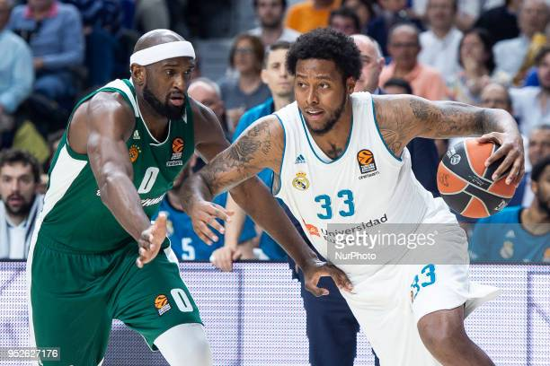 Chris Singleton #0 of Panathinaikos Superfoods Athens vies Trey Thompkins of Real Madrid during the Turkish Airlines Euroleague Play Offs Game 4...