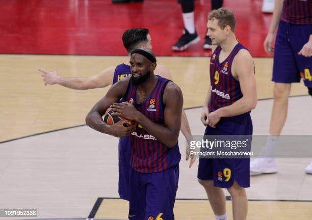 Chris Singleton #6 of FC Barcelona Lassa react after the final whistle of the 2018/2019 Turkish Airlines EuroLeague Regular Season Round 21 game...